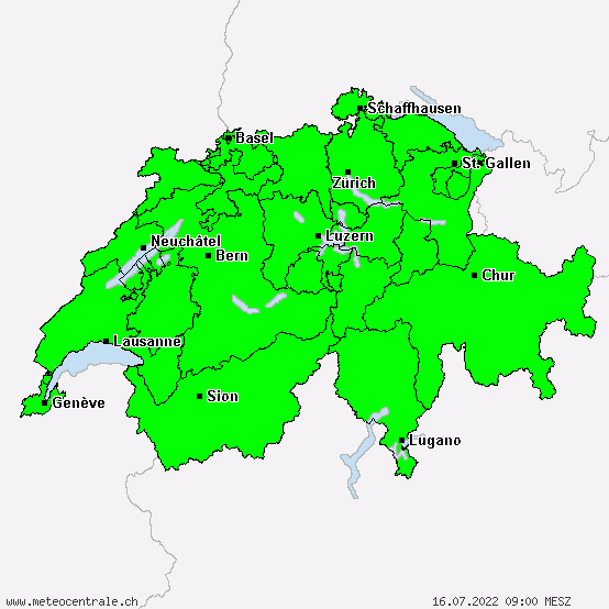 Switzerland - Warnings for freezing rain